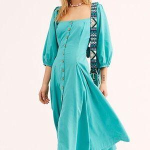 Free People Square Neck Linen Dress